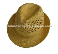 Trilby Fedora straw hat, Fashion yellow straw hat,Trilby paper straw hat