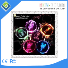 LED Crystal Key Chain/ Gift / Promotion / Wedding Gift for hexagon shape