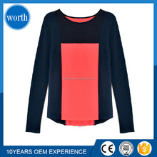 long sleeve rounded hem multi color t shirt funny