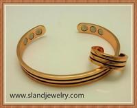 Wholesale enamel stripy adjustable magnetic brass copper bracelets with ring