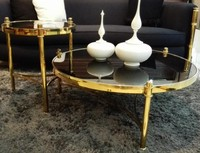 Modern Rose Gold Color Stainless Steel Legs High Gloss Tempered Glass Round Coffee Table