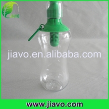 Reusable plastic filtered sports water bottle with carabiner