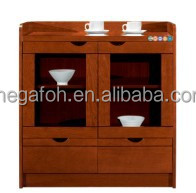Made in China Walnut MDF Wood Tea Cabinet for Break Room Office Furniture(FOHJ-8001)