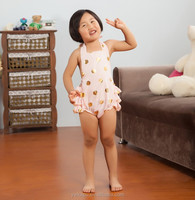 2015 Baby Rompers polka dots rompers Gold lace polks dots Printed Ruffled Petti Romper