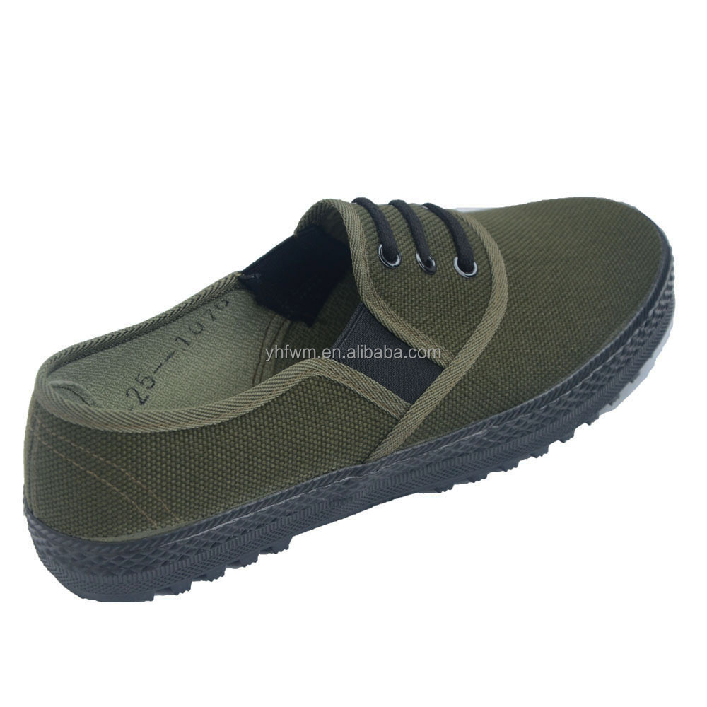puncture protection rubber sole army green henan canvas
