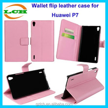 New arrival and fashional wallet leather flip cell phone case for huawei ascend p7