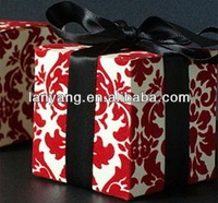 red sweet silk wedding candy decorative gift invitation boxes wholesale
