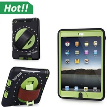 2 in 1 Hybrid Silicone+PC Case Wheel with Leather Strap+360 Degree Rotating+Belt Holster Tablet Case For iPad Mini 1 2 3 Retina