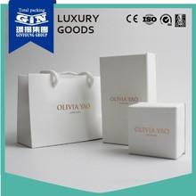 Handmade foiled logo white art paper jewelry gift box for wedding