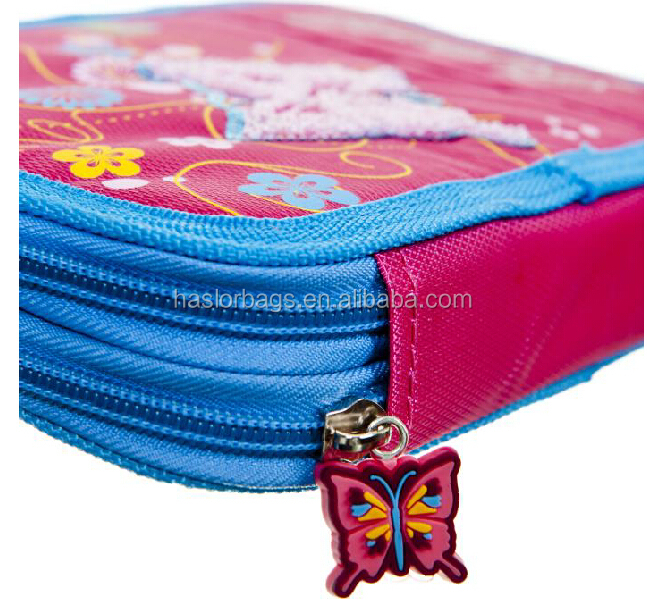 Butterfly Patter Pencil Pouch/Cute 3 Zipper Anime Pencil Case