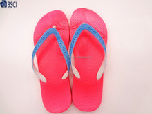 Lady and Kids flower PVC strap slippers fuxia PVC sole summer flip flops