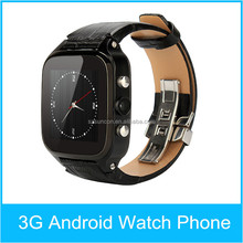 MTK6572 Dual Core AGPS/GPS Waterproof Genuine Leather Watchband 3G sim card smart watch phone