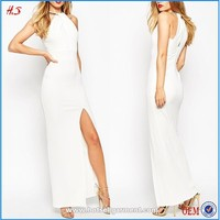 Summer wholesale formal high thigh split pakistani new style boutique maxi dresses white bodycon sexy dress