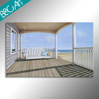 Decorative wall picture modern rocking chair print painting beautiful seaside canvas painting