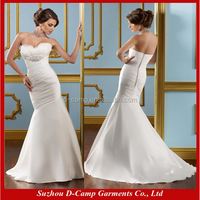 WD-365 Stunning strapless mermaid design feathered wedding gowns