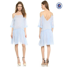 Wholesale brand name clothes new summer fashion plain pleated off shoulder short dress