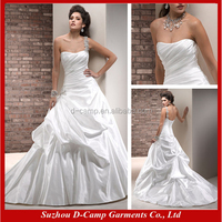 WD-912 Asymmetrical pleating bodice pick up ball gown tailored wedding dresses china eiffel wedding dress new model