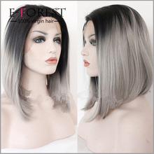 Short Ombre Grey Human Hair Wigs Fashion Bob Style Virgin Brazilian Human Hair Gray Straight Bob Full Lace Wig For Black Women