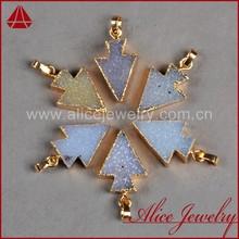Fashionable arrowhead gold platedjewelry wholesale druzy pendant charm necklace
