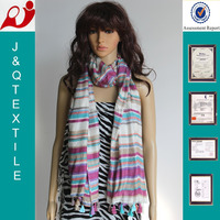 multi tied fringe yarn died stripe ethnic fabric and 100% polyester scarf
