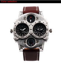 Custom functional new design watch, leather strap watch for men,time zone quartz watch