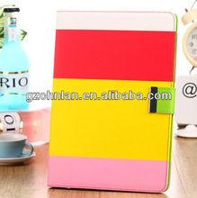 Customized Multi-color Fashion Book Stripe Wallet Credit Card Folio PU Leather Case For Ipad Air