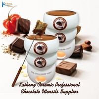High quality ceramic hot chocolate fondue with sticks and candle