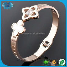 Four Leaf Clover Rose Gold Plated Bangle For Lady Metal Bracelet Gold Jewelry