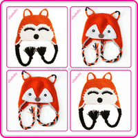 hot selling free knitting the fox pattern baby hat hand made crochet cute kids animal winter hats