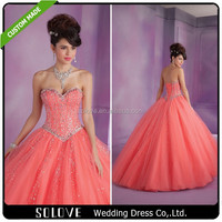 2015 New Collection Ball Gown Crystal Western Quinceanera Dresses Cheap