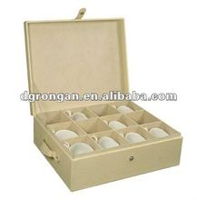 Cream Faux Leather China Cup Storage Chest B02-117