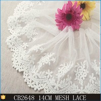 New lace design hot sale in french embroidery mesh widen flower lace trim for making ladies dress