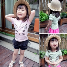 MS65315C cat prints fashion striped summer baby girls new design t shirt