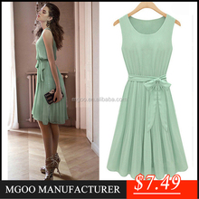 MGOO Wholesale Fashion Chiffon Dress Mint Green Short Ruched Pleated Party Dresses Sleeveless Casual Dresses With Satin Sashes