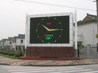 full color outdoor led clock time date temperature sign