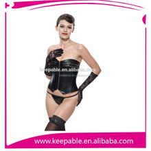 2015 Best Sale High Quality Plus Size Leather Steel Boned Waist Training corset