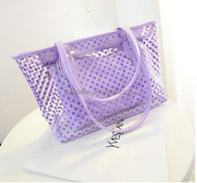 candy color with dot pattern lady shoulder bag Lash package transparent pvc beach hand bag