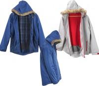 Mens Fur Hooded Lined Curved Hem Zip Jacket