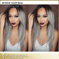 1b/grey glueless lace wig two tone human hair grey lace front wig for black women none lace wig