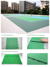 Portable volleyball court sports floor tiles