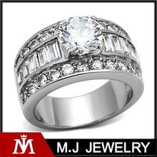 Top Quality Stainless Steel Wedding Band Ring, engraved Silver CZ Diamond Crystal Rings