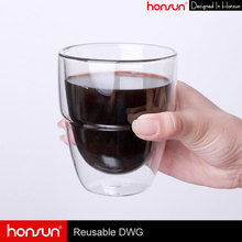 Eco friendly popular handcrafted 9oz double wall glass coffee mug