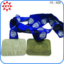 Souvenir items sliver and bronze plated sanding rectangular medals with blue ribbon