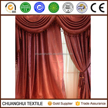 NEW ARRIVAL polyester non-toxic grommet jacquard blackout curtains with valance