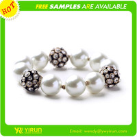 Factory direct selling crystal pearl statement chain cheap pearl bracelet