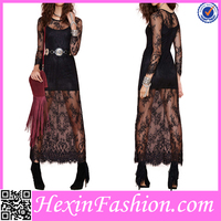 One Piece Black Velvet Embroidered Dress From Factory