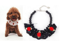 Lace DIY pets collar necklaces,fashion pearl beads pet necklace with red flowers