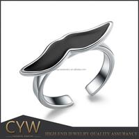 Enamel Plated big beard 925 sterling silver ring adjust size ring