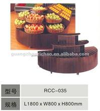 Exibição supermercado prateleira de canto de madeira fruit vegetal canto prateleira carrinho de exposição de design