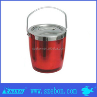 double wall red / custom color insulation plastic stainless steel ice bucket wine cooler